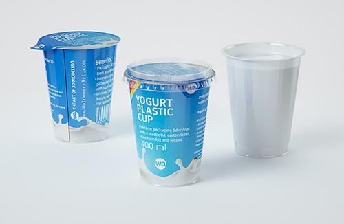 Yogurt Plastic Cup 400ml Premium packaging 3D model