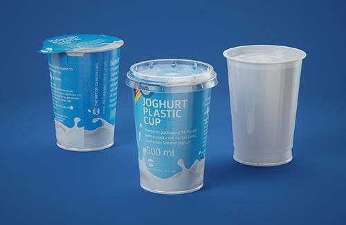 Yoghurt Plastic Cup 500ml Premium packaging 3D model