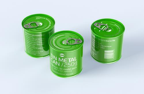 Packaging 3D model of the Tin metal can 250g with pull open