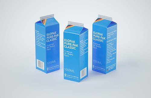 Elopak Pure-Pak Classic 1000ml (no opening) Premium carton packaging 3D model pack