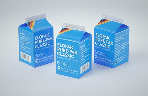 Elopak Pure-Pak Classic 500ml (no opening) Premium carton packaging 3D model pack