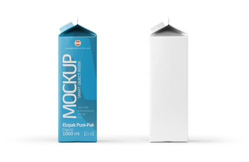 Elopak Pure-Pak Classic 1000ml Photoshop Mockup - Side view