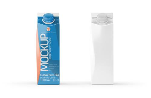 Mockup of Elopak Pure-Pak Diamond-Curve 1000ml packaging - Front view