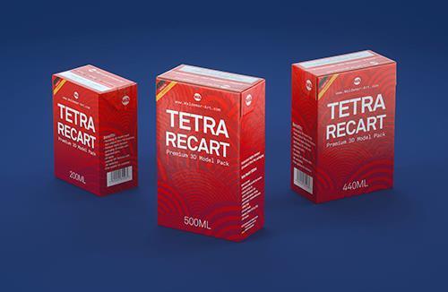 Tetra Recart 200, 440 and 500ml carton packaging 3D model pack