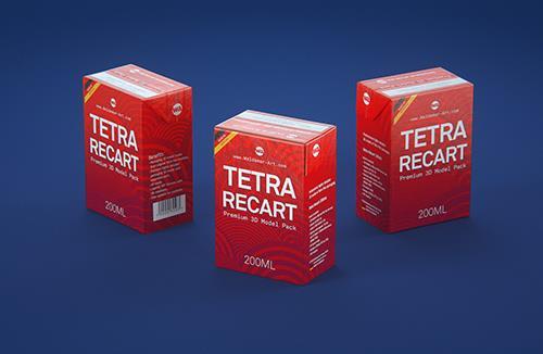 Tetra Pack Recart 200ml Premium carton packaging 3D model pak