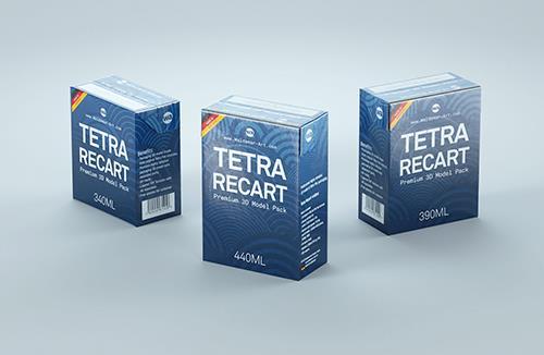Tetra Recart 340, 390 and 440ml carton packaging 3D model pack