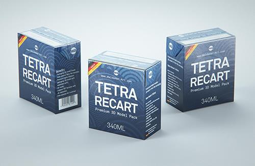 Tetra Pack Recart 340ml Premium carton packaging 3D model pak
