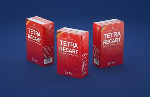 Tetra Pack Recart 500ml Premium carton packaging 3D model pak