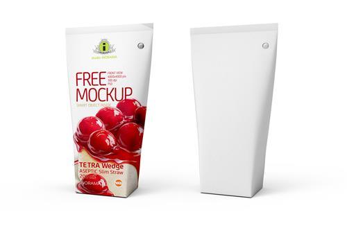 Free Packaging MockUp of Tetra Pack Wedge Aseptic 200ml Slim Straw