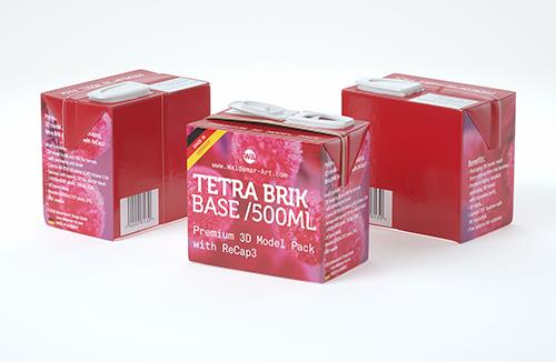 Professional Packaging 3D model pak of Tetra Pack Brick Base 500ml with ReCap3