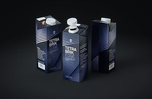 Tetra Pack Brick EDGE 1000ml Premium packaging 3D model pak with SimplyTwist34 closer