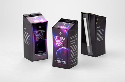 Tetra Pak Brik Edge 200ml with a straw carton packaging 3d model