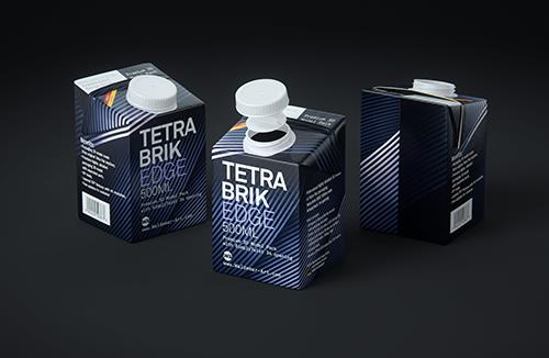 Tetra Pak Brik EDGE 500ml Premium packaging 3D model with SimplyTwist34 closer