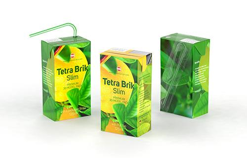 Tetra Pack Brick Slim 125ml with Pull Tab and a packaged straw packaging 3d model pak