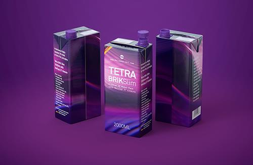Tetra Pak Brik Slim 2000ml Premium packaging 3D model with HeliCap 27 closure