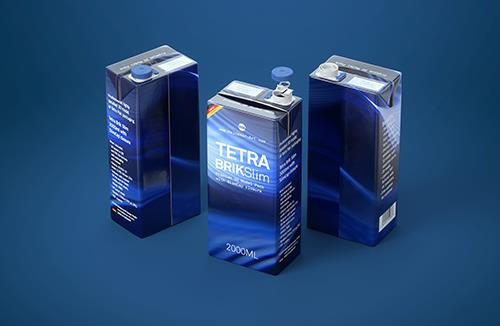 Tetra Pak Brik Slim 2000ml Premium packaging 3D model with SlimCap closure