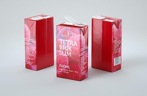 Tetra Pack Brik Slim 500ml with ReCap2 Premium package 3D model pak