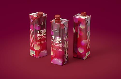 Tetra Pack Prisma Square 1000ml premium packaging 3D model pak with HeliCap 27