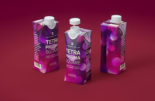 Tetra Pak Prisma Square 330ml 3D model with DreamCap 26 opening
