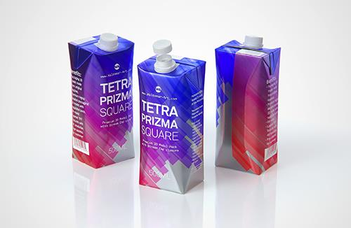 Packaging 3d model pak of Tetra Pack Prisma Square 500ml with StreamCap opening