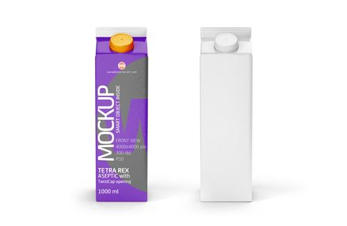 Photoshop Mockup of Tetra Pak Rex 1000ml with TwistCap Front View