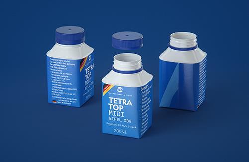 Tetra Top MIDI 200ml 3D model of carton package with Eifel O38 closure