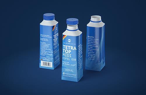 Tetra Top MIDI 500ml 3D model of carton package with Eifel O38 closure