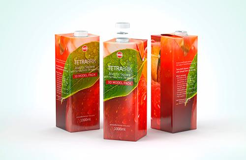 Tetra Pack Brick Square 1000ml with SimplyTwist 28 opening package 3d model pak