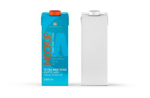 Package Mock-Up of Tetra Pack Brick Aseptic 1000ml with LightCap30 Front View