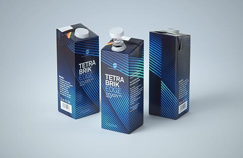 Tetra Pack Brick EDGE Aseptic 1000ml Premium Packaging 3D model pak with LightCap 30
