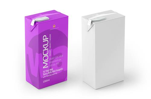 Packaging MockUp of Tetra Pak Brik Mid Aseptic 1000ml with FlexiCap Front-Side View