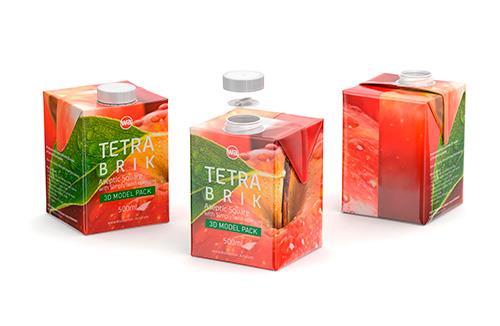 3d model pak of Tetra Pack Brick Square 500ml with SimplyTwist closer