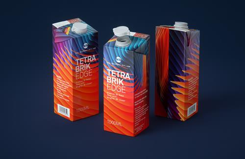 Premium packaging 3D model of Tetra Pak Brik EDGE 1000ml with WingCap 30 opening
