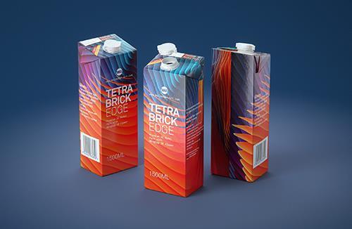Tetra Pack Brick EDGE 1500ml with WingCap30 Carton packaging professional 3D model pak