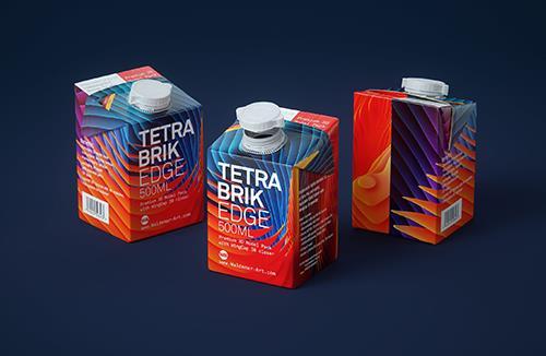 Tetra Pack Brick EDGE 500ml Premium packaging 3D model pak with WingCap 30 closer