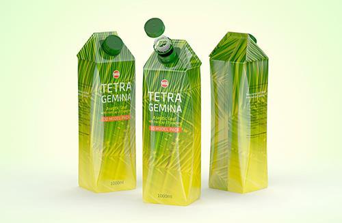 Tetra Pack Gemina Leaf 1000ml with HeliCap 27 packaging 3D model pak