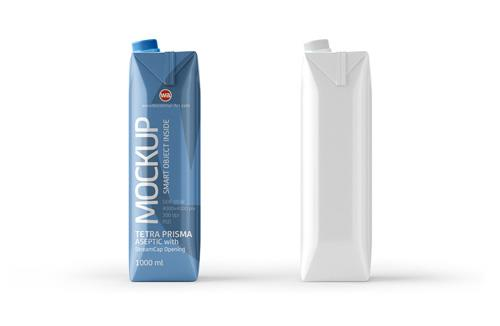 PSD Mockup of Tetra Pak Prisma 1000ml Side View
