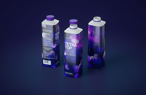 Tetra Pak 3d model of the Tetra Top Base 1000ml with Eifel O38 closer