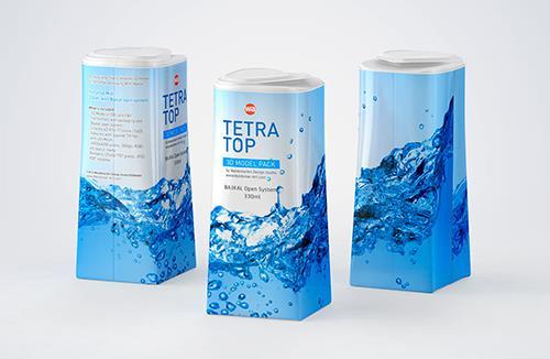 Packaging 3D model of Tetra Pak Top Midi 330ml with Bajkal