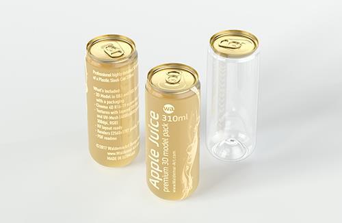 Plastic sleek can 3D packaging model 330/310ml
