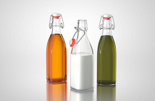 Trio - packaging 3d models of bottles for oil, vinegar or milk